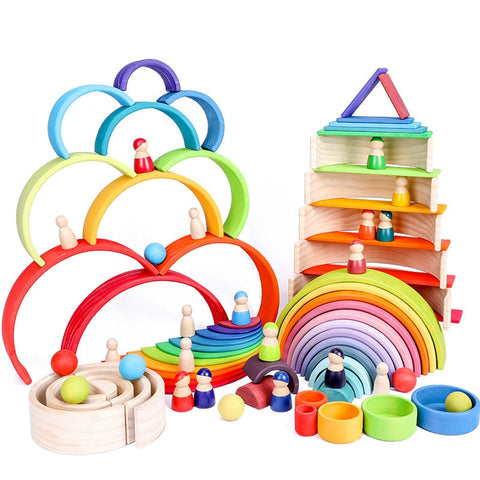 Baby Toys Large Size Rainbow Stacker Wooden Toys