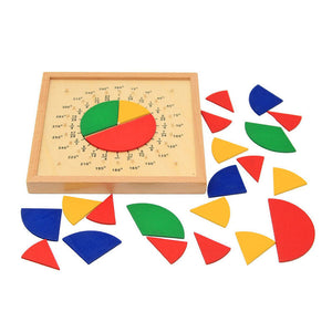 Circular Mathematics Fraction Division Teaching Aids Montessori Board Wooden Toys