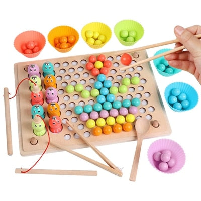 Montessori Wooden Toys Hands Brain Training Clip Beads Puzzle Board