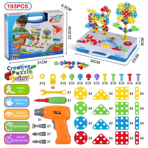 Drilling Screw 3D Creative Mosaic Puzzle Toys For Children Building Bricks Toys