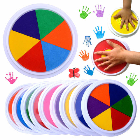 Funny 6 Colors Ink Pad Stamp DIY Finger Painting Craft Cardmaking Large Round