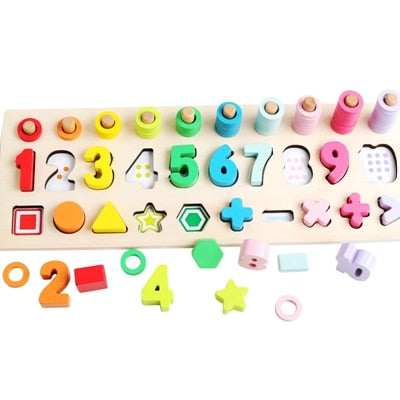 Wooden Montessori Toys Count Geometric Shape