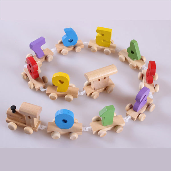 Baby Montessori Soft Wood Train Figure Model Toy
