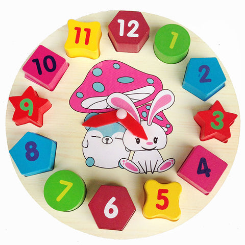 Montessori  Rabbit Bunny Shape Sorting Digital clocks Wooden  Baby Toys Blocks  Math Toys Early Childhood Education  Kids Toys