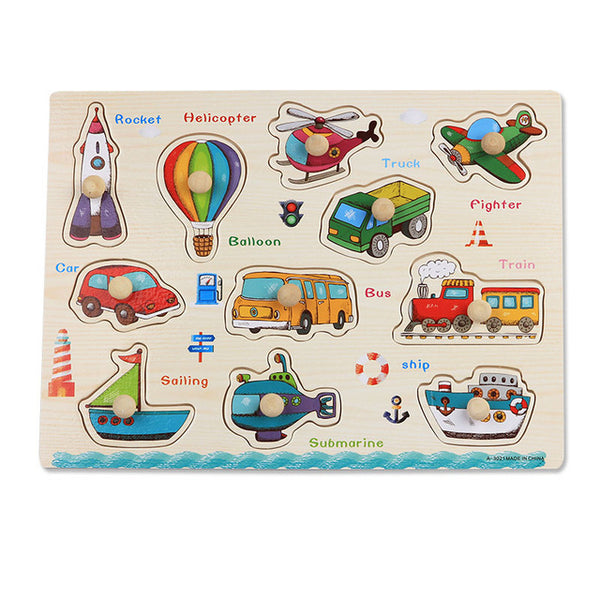 Baby Toys Montessori wooden Puzzle/Hand Grab Board Set Educational Wooden Toy Cartoon Vehicle/ Marine Animal Puzzle Child Gift