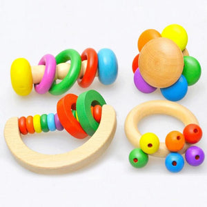 4 Styles Montessori Kid Baby Toys Bell Wood Rattle Toys Handbell