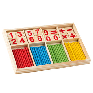 Montessori Wooden Number Math Game Sticks Box