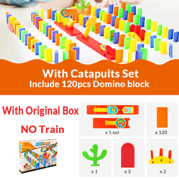 Domino Train set Catapult kit Puzzle Educational 120/60PCS Plastic Dominoes Blocks Brick DIY sound light Toy gift for boy girl