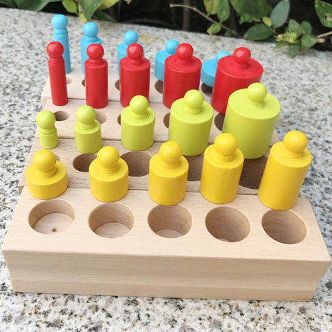 Montessori Educational Wooden Toys Cylinder Socket Blocks Toy Baby Development Practice and Senses 4pc/1 set Monterssori Family