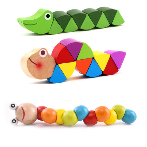 Colorful Wooden Worm Puzzles Kids Educational Baby Toys Insect Fingers Flexible Training Twisting Game for Children Gift