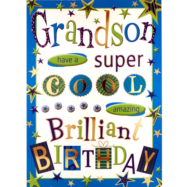 Grandson Birthday Card - Brilliant Birthday