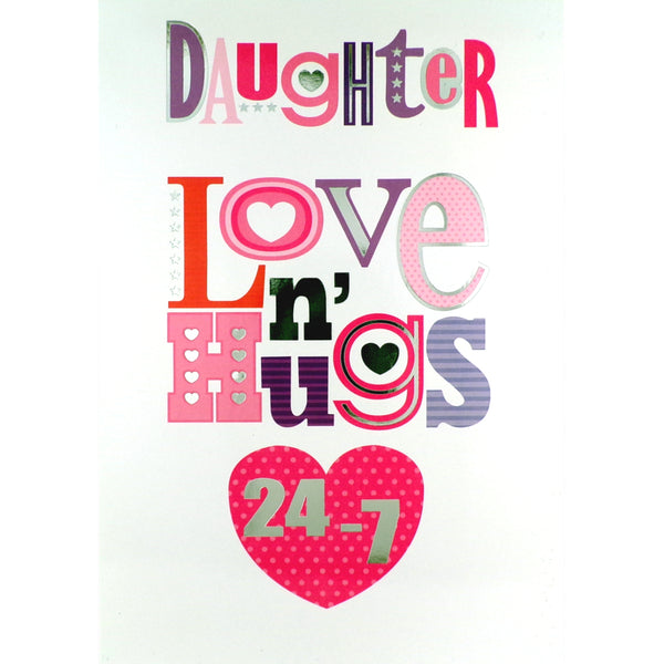 Daughter Birthday Card - Love and Hugs
