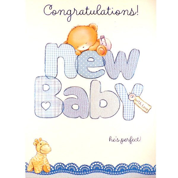New Baby Card - Congratulations, With Love
