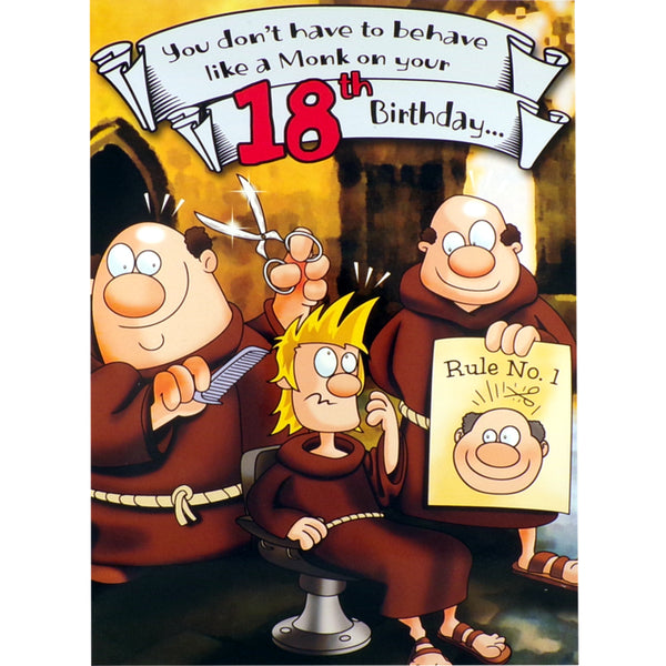 18th Birthday Card - Behave Like a Monk