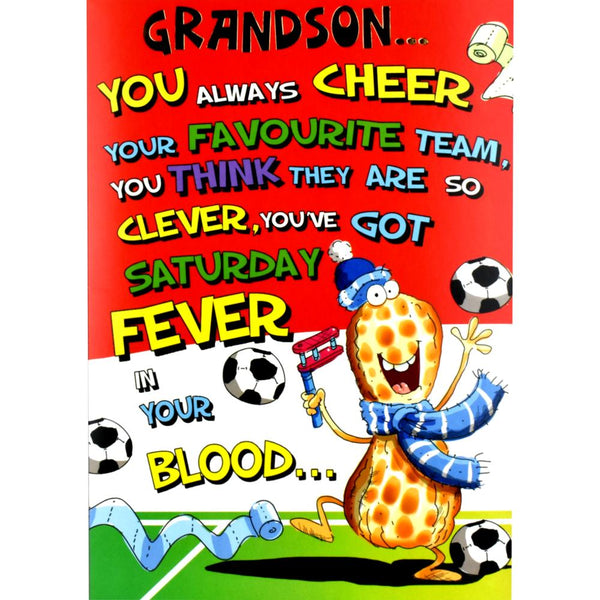 Funny Grandson Birthday Card - A Footie Nut Forever!