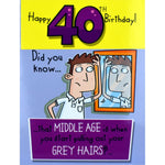 Funny 40th Birthday Card - Grey Hairs?