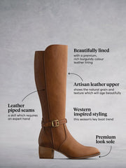 Dallington Tan Leather - Elegant Western-inspired knee high boots.