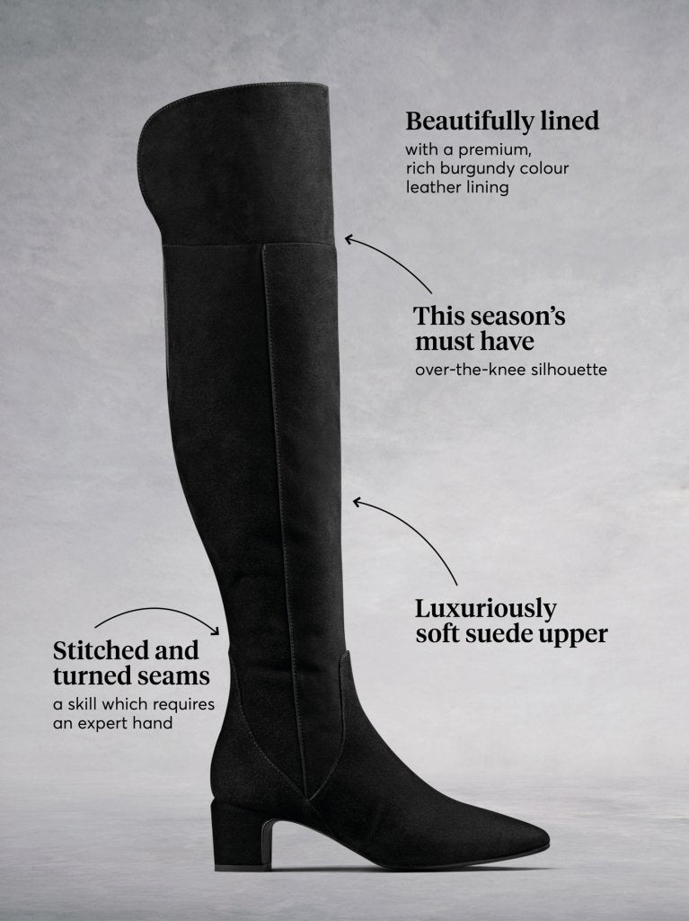 Fernworth Black Suede - Low-heeled black suede over-the-knee boots.
