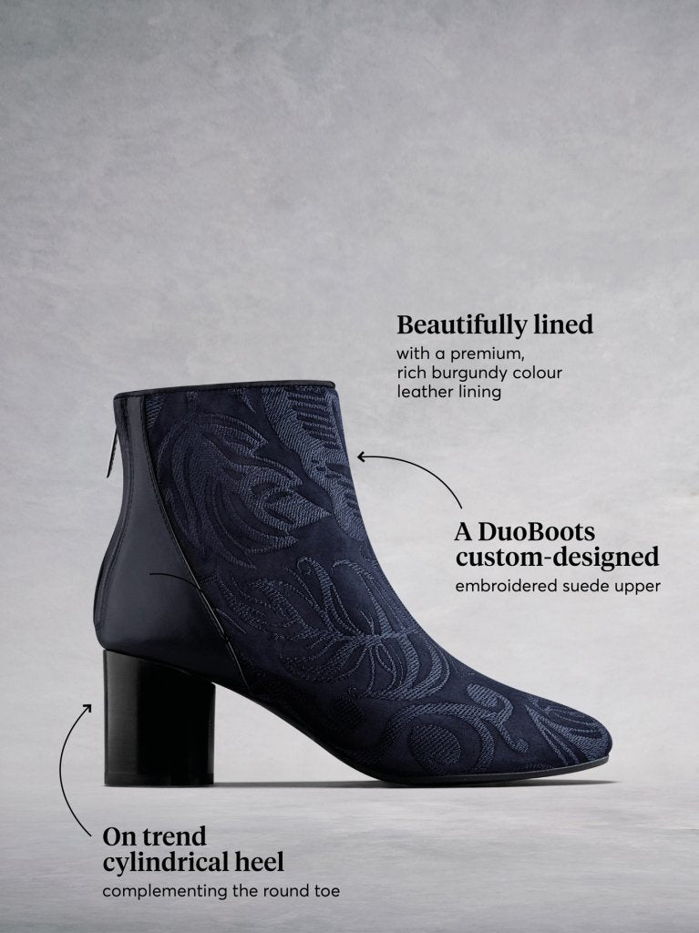 Gosford Navy Embroidered Suede - Suede and leather embroidered ankle boots.