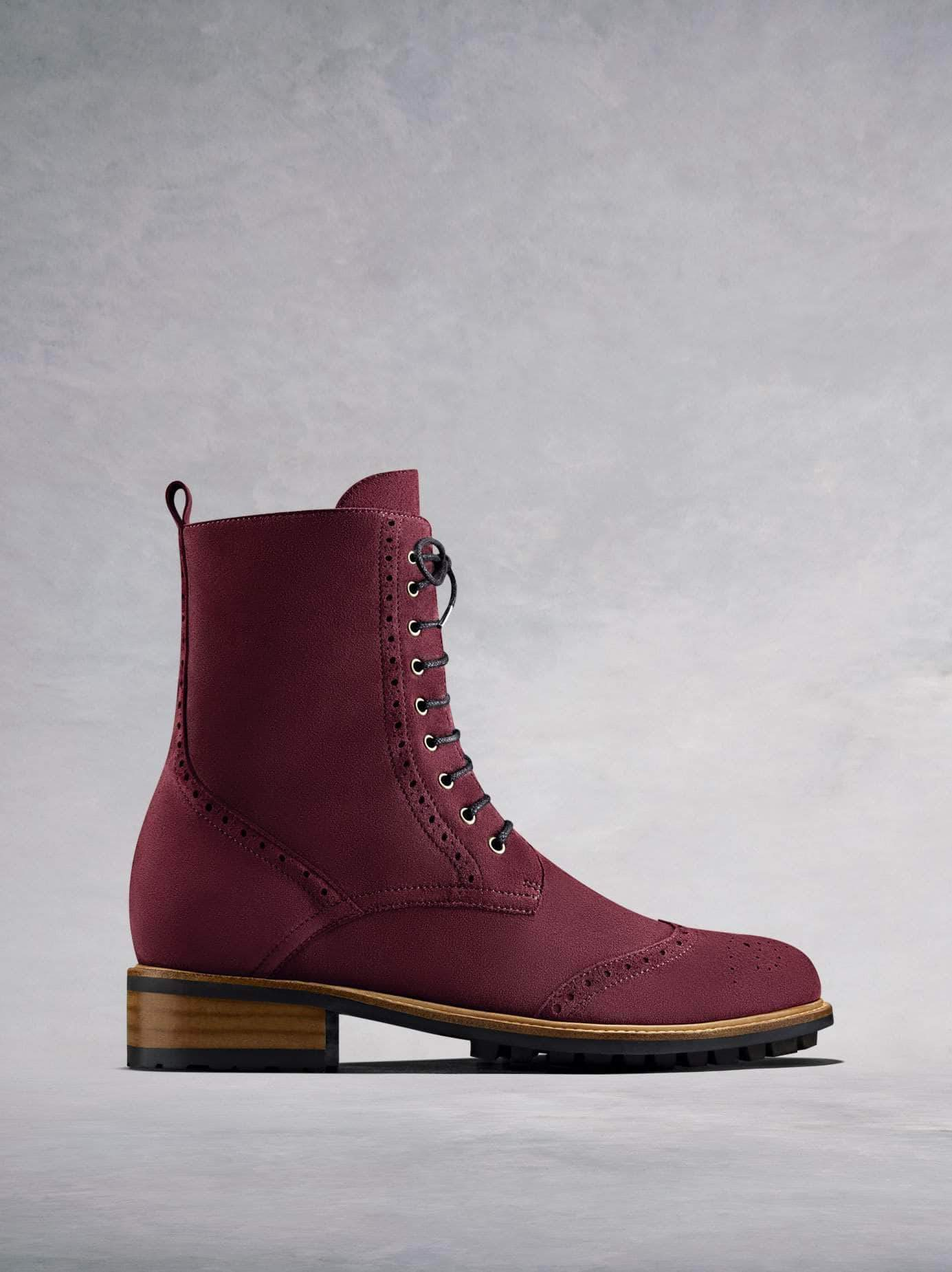 Balla, our brogue inspired burgundy suede lace up ankle boot.