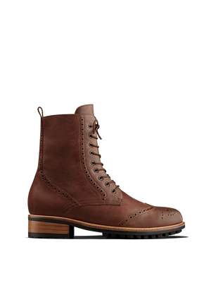 Balla Chestnut Brown Leather - Classic brogue lace up ankle boots.