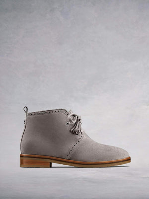 Barton, our light grey suede chukka boot with a crepe sole.