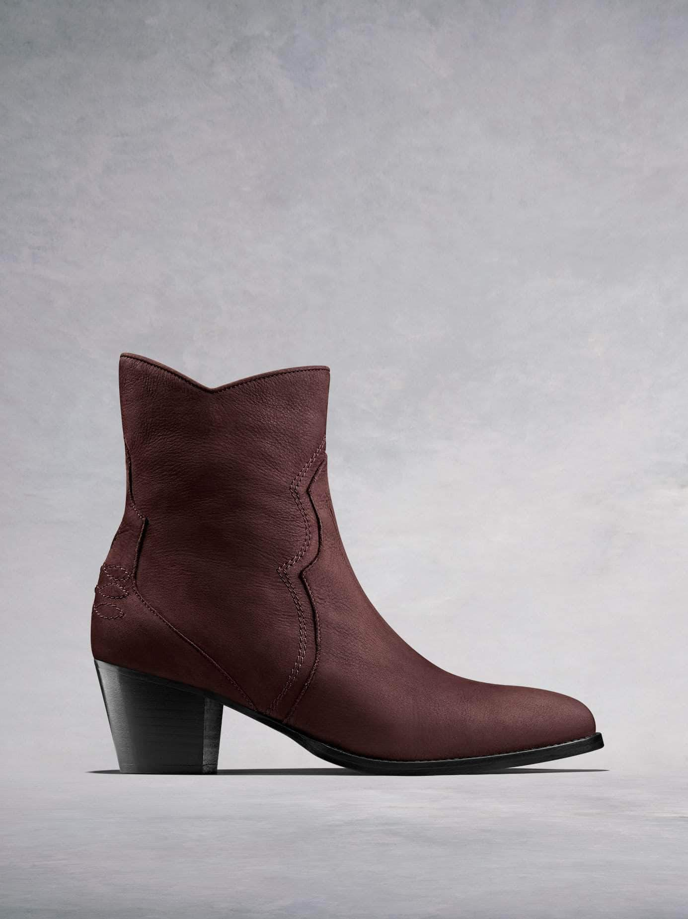 Channel the western trend with our Bexley burgundy nubuck leather ankle boot. Available in our standard or wide fit.