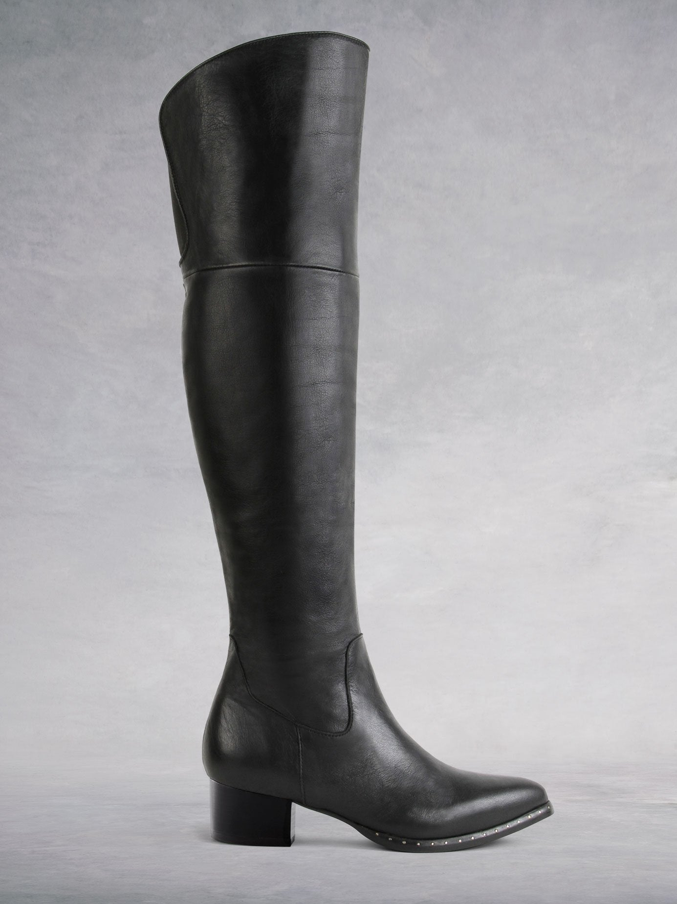 Blade Black Leather - Pointed toe over-the-knee boots - web exclusive.