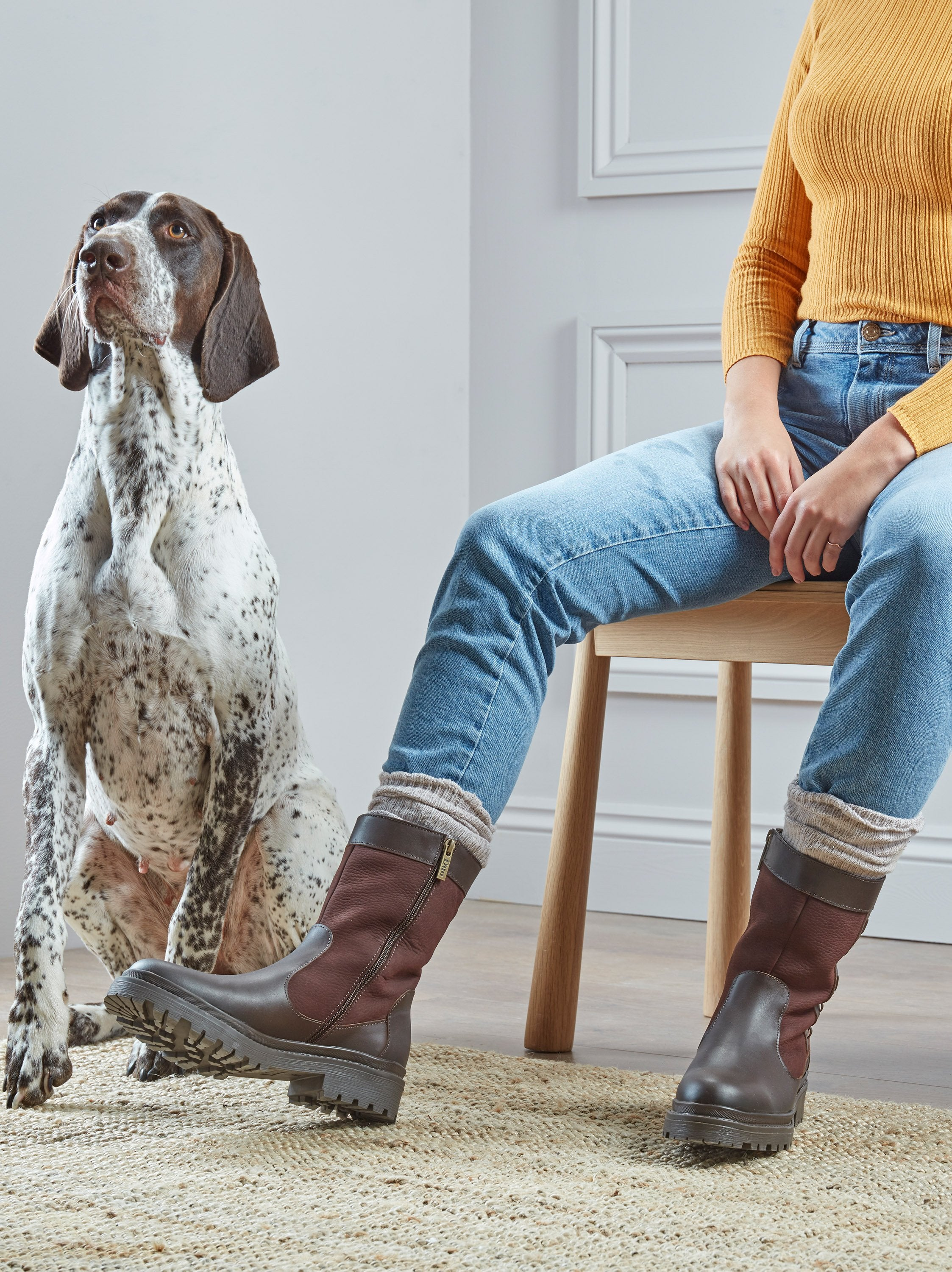 Perfect for outdoor adventures Bramley is made from water resistant brown nubuck and leather, with flattering whip stitch detailing down the side of the boot.