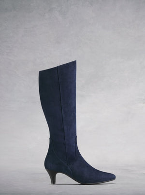 The Breedon, a silhouette enhancing navy suede knee high boot.