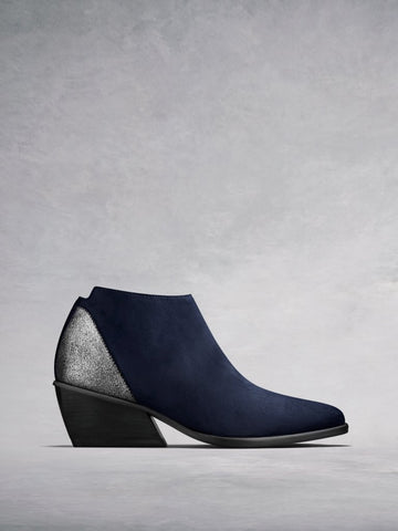 Buell Navy Suede - Low-heel versatile ankle boots.