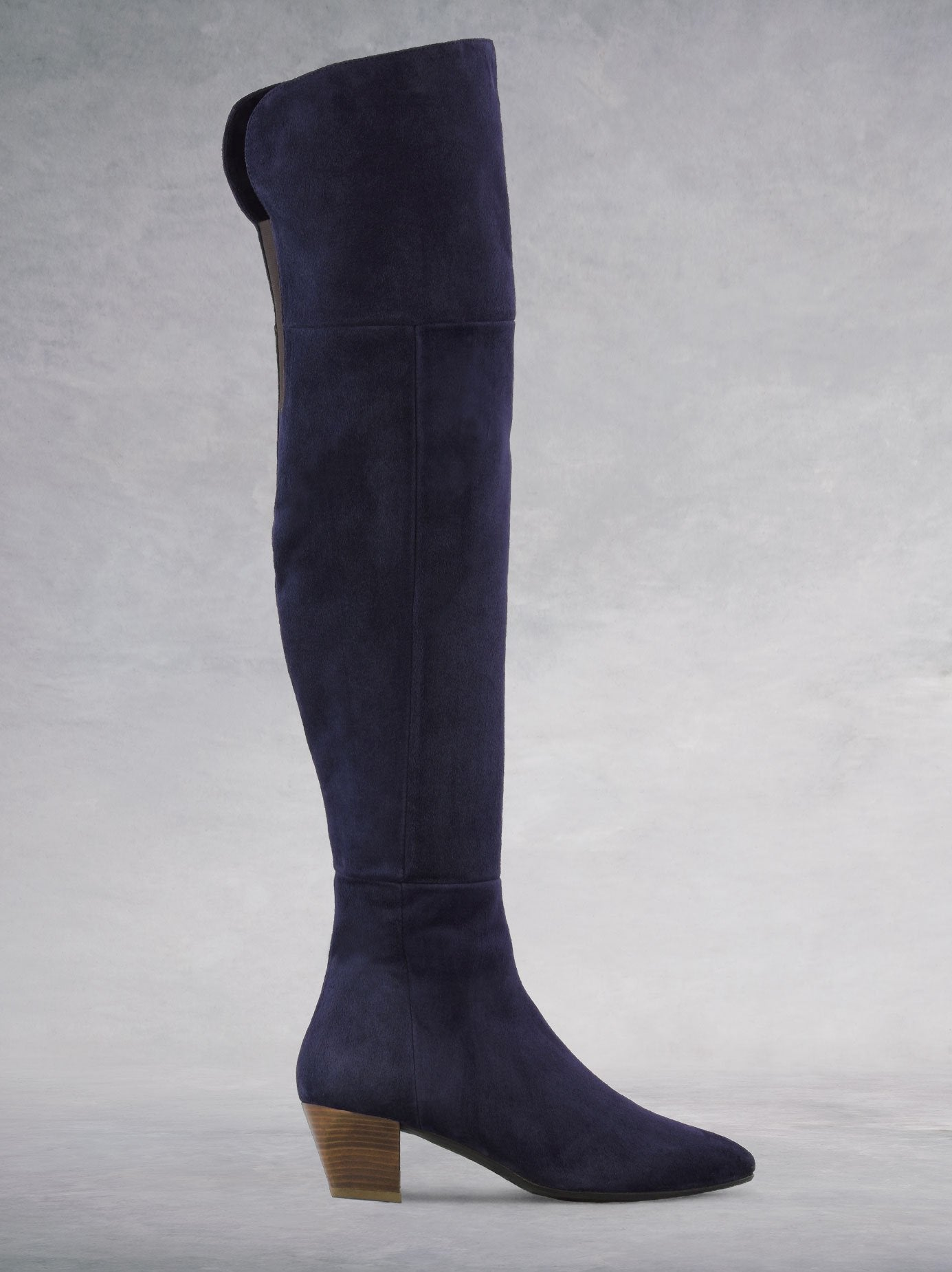 d6da18b85f0 Curve Navy Blue Suede Over-The-Knee Boots