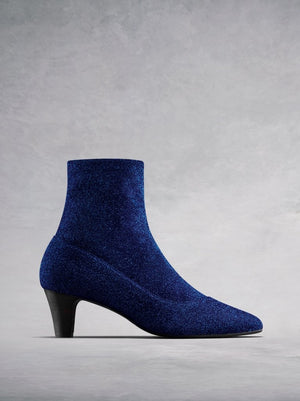 Dalby Blue Sparkle Fabric - Sock ankle boots.