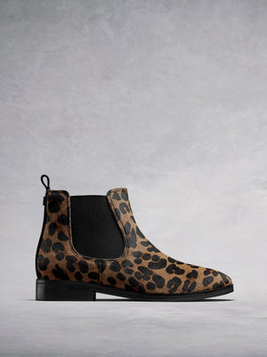 Darwin Leopard Hair Leather - Round toe flat Chelsea boots.