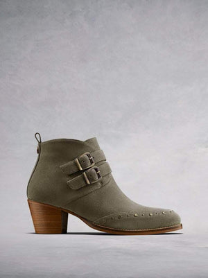 Emilia, our casual khaki suede ankle boot with buckle and stud detailing.
