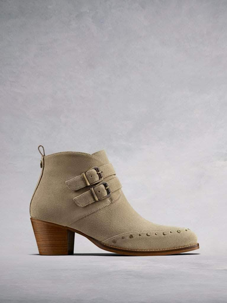 Emilia, our casual taupe suede ankle boot with buckle and stud detailing.