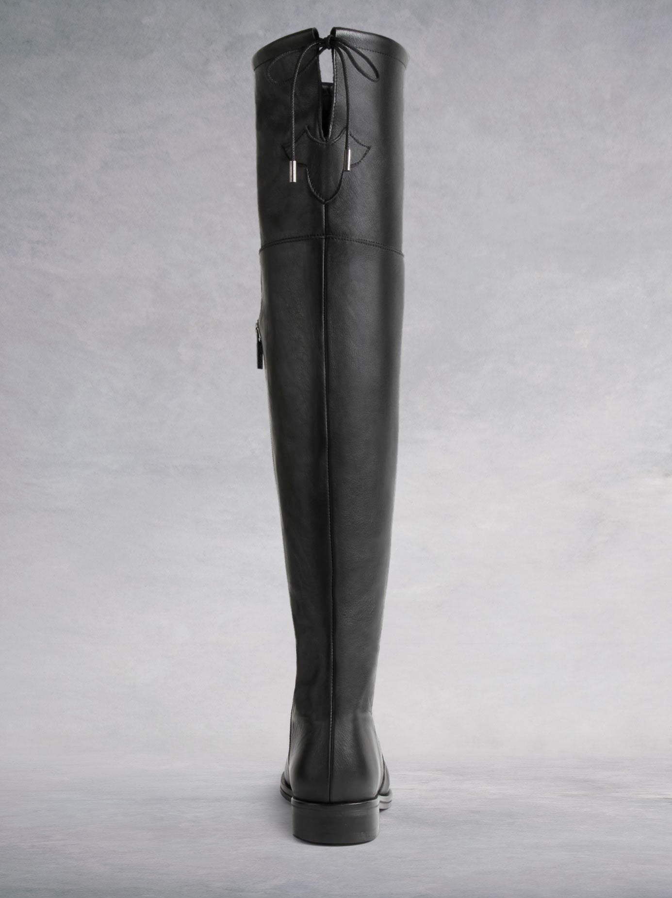 Fuller Black Leather - Over-the-knee boots with thick rubber sole - web exclusive.