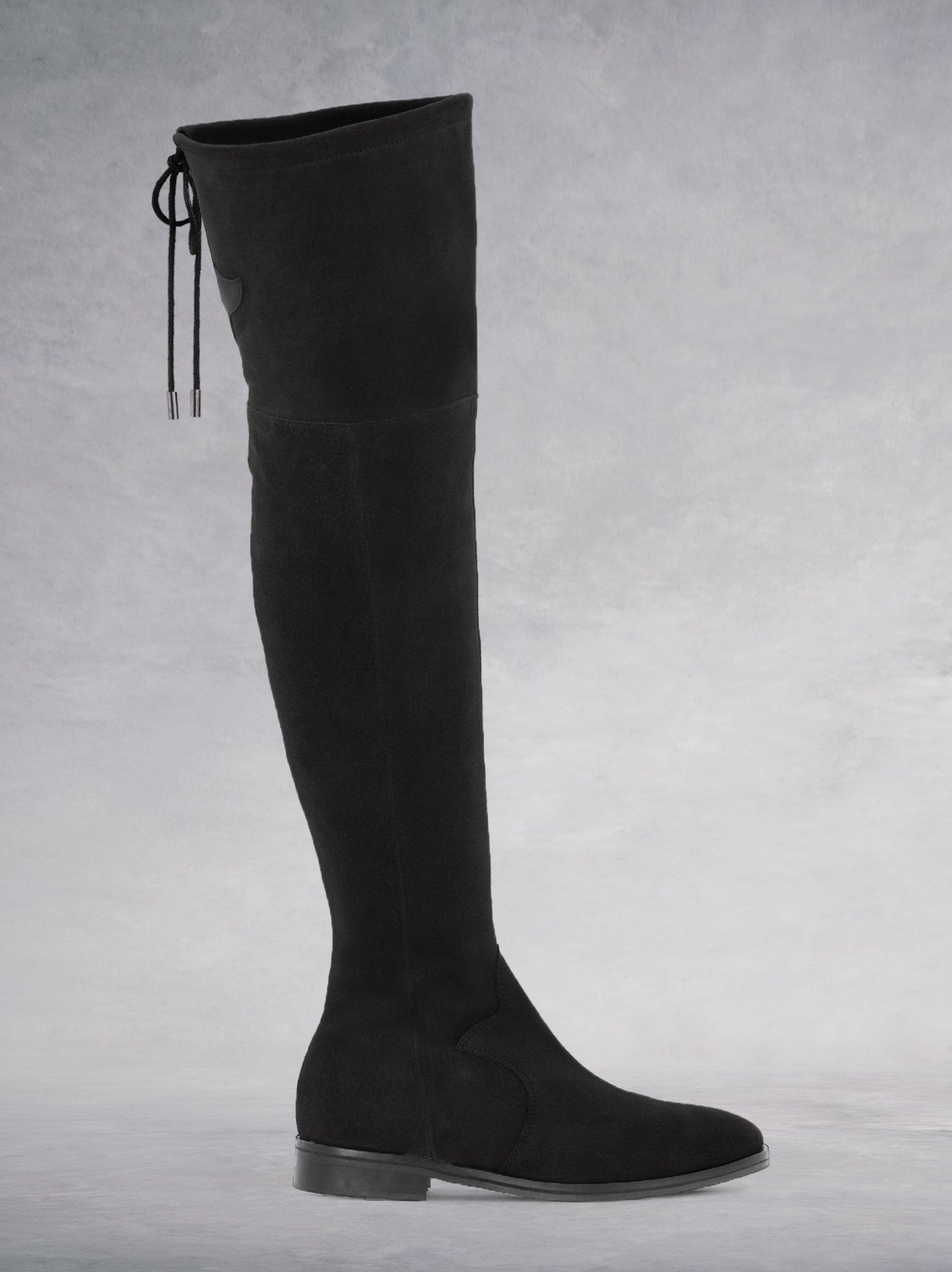 Fuller Black Suede - Over-the-knee boots with thick rubber sole.