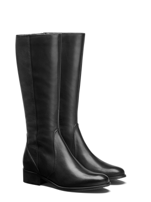 Haltham Black Leather - Simple, classic, flat riding boots.