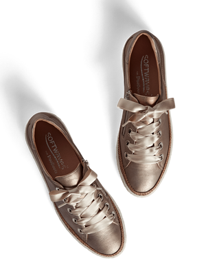 Harlyn Rose Gold Metallic Leather - Statement leather trainer with side zip.