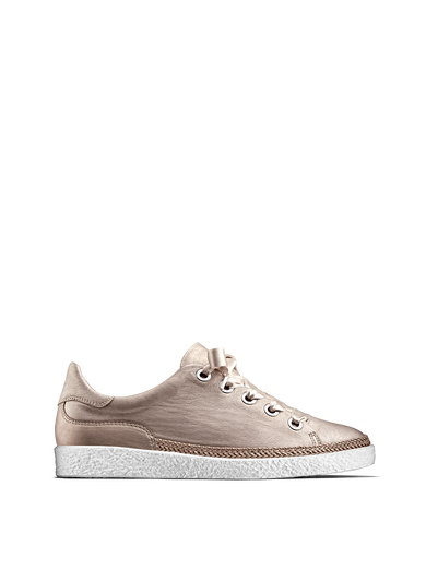 Harlyn, our statement rose metallic leather trainer with side zip fastening.