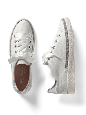 Harlyn White Snake Embossed Leather - Statement leather trainer with side zip.