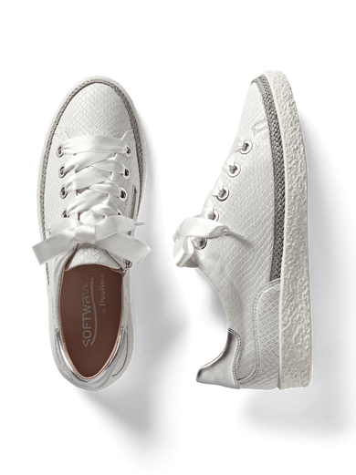 Haryln, our white snake embossed leather trainer with cushioned insoles.