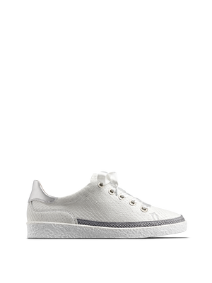 Harlyn, our statement white leather trainer with side zip fastening.