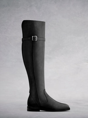 Harridge Black Leather - Over the knee biker-inspired boots.