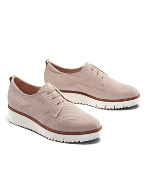 Hayle Blush Pink Snake Embossed Leather - Lace-up brogue flatform.