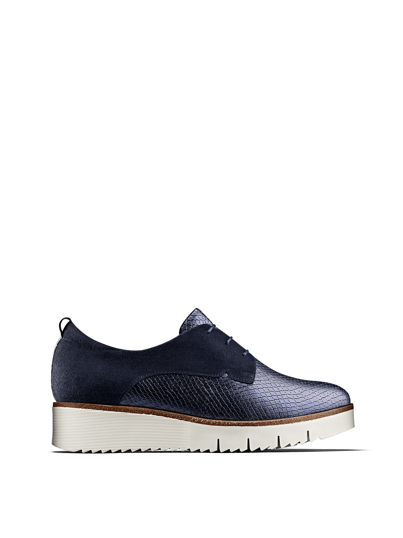 Hayle in navy metallic has a derby silhouette, chunky sole and lace up design.