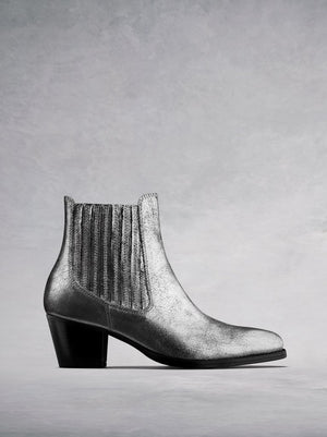The Hockley, our Western inspired metallic silver statement ankle boot.