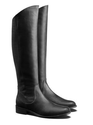 Huntsman Black Leather - Flat, knee high classic leather riding boots
