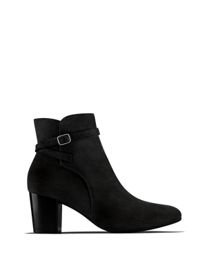 Kelston, a smart heeled black suede ankle boot with a cross over ankle strap.